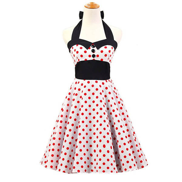 Vintage 1950s Halter Polka Dots Rockabilly Circle Swing Audrey Dresses CF1005 Red White