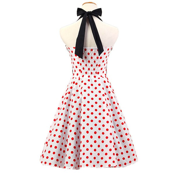 Vintage 1950s Halter Polka Dots Rockabilly Circle Swing Audrey Dresses CF1005 Red White_02
