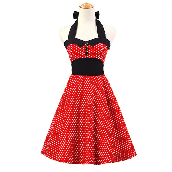 Vintage 1950s Halter Polka Dots Rockabilly Circle Swing Audrey Dresses CF1005 Red White Dots