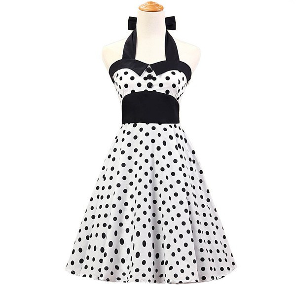 Vintage 1950s Halter Polka Dots Rockabilly Circle Swing Audrey Dresses CF1005 White
