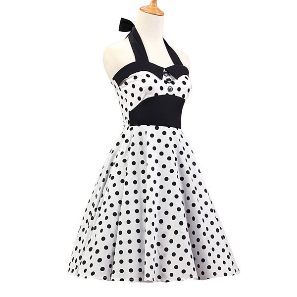 Vintage 1950s Halter Polka Dots Rockabilly Circle Swing Audrey Dresses CF1005 White_01