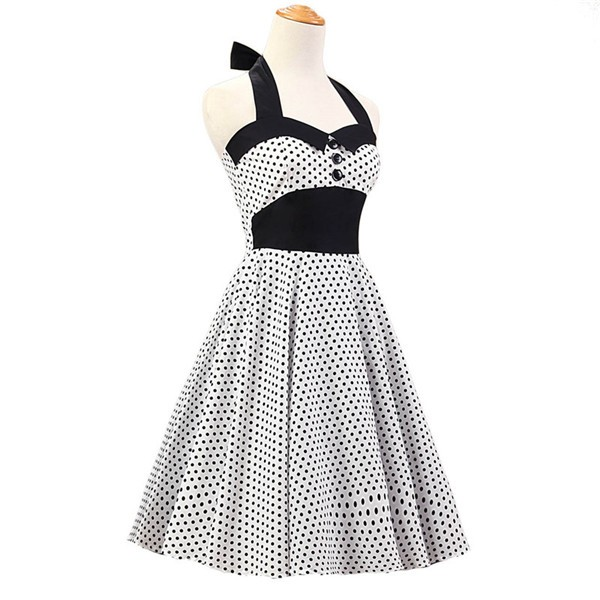 Vintage 1950s Halter Polka Dots Rockabilly Circle Swing Audrey Dresses CF1005 White Black Dots_01