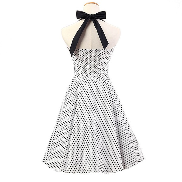 Vintage 1950s Halter Polka Dots Rockabilly Circle Swing Audrey Dresses CF1005 White Black Dots_02