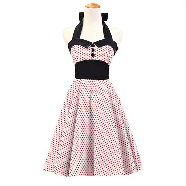 Vintage 1950s Halter Polka Dots Rockabilly Circle Swing Audrey Dresses CF1005 White Red Dots
