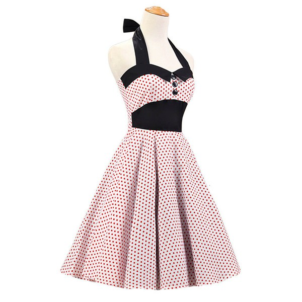 Vintage 1950s Halter Polka Dots Rockabilly Circle Swing Audrey Dresses CF1005 White Red Dots_02