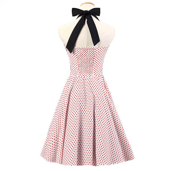 Vintage 1950s Halter Polka Dots Rockabilly Circle Swing Audrey Dresses CF1005 White Red Dots_01