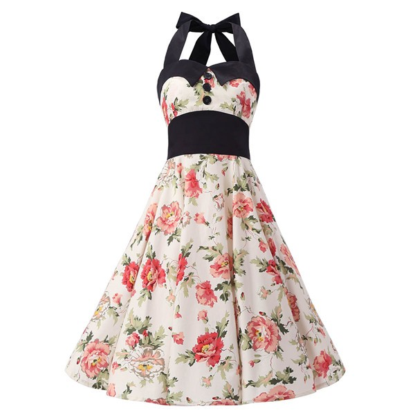 Vintage 1950s Halter Rockabilly Tea Party Swing Hepburn Style Dresses CF1009 Cream Floral