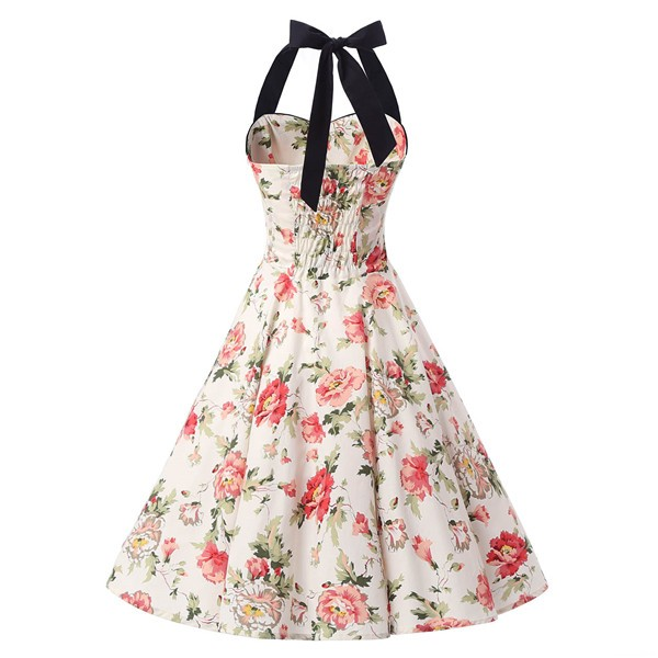 Vintage 1950s Halter Rockabilly Tea Party Swing Hepburn Style Dresses CF1009 Cream Floral_01