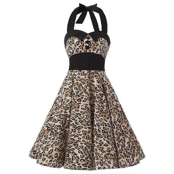Vintage 1950s Halter Rockabilly Tea Party Swing Hepburn Style Dresses CF1009 Leopard Print
