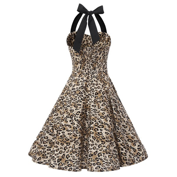 Vintage 1950s Halter Rockabilly Tea Party Swing Hepburn Style Dresses CF1009 Leopard Print_01