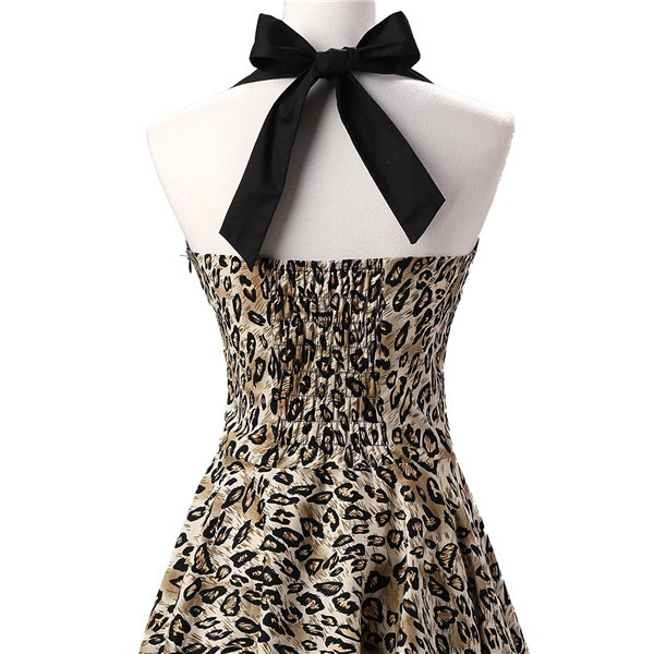 Vintage 1950s Halter Rockabilly Tea Party Swing Hepburn Style Dresses CF1009 Leopard Print_04