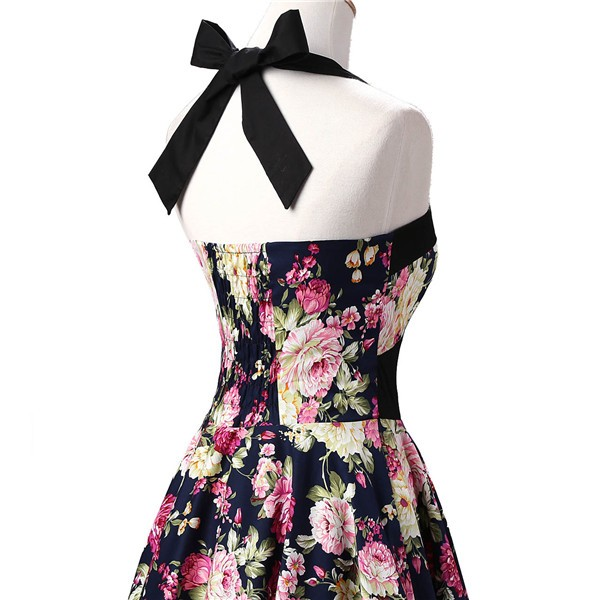 Vintage 1950s Halter Rockabilly Tea Party Swing Hepburn Style Dresses CF1009 Navy Blue Floral_03
