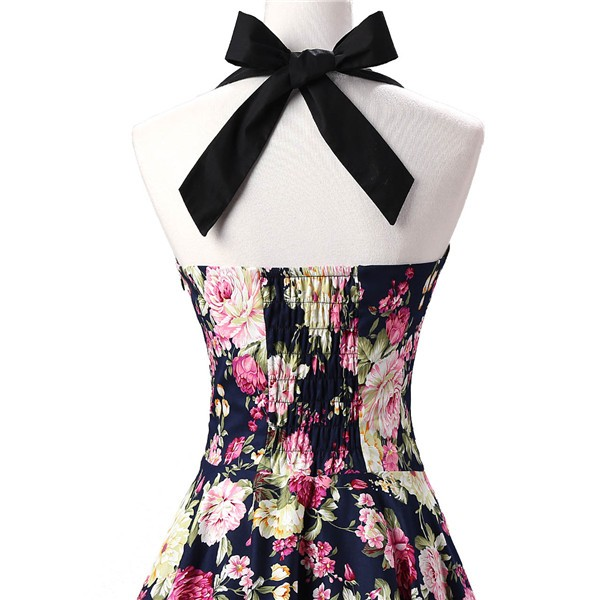 Vintage 1950s Halter Rockabilly Tea Party Swing Hepburn Style Dresses CF1009 Navy Blue Floral_04