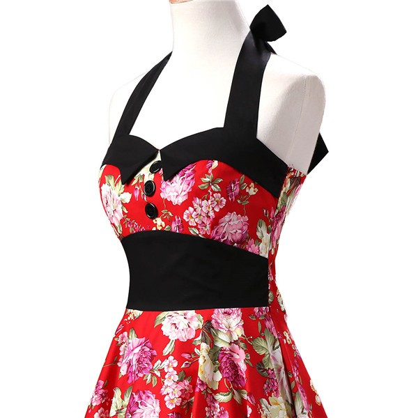 Vintage 1950s Halter Rockabilly Tea Party Swing Hepburn Style Dresses CF1009 Red Floral_02