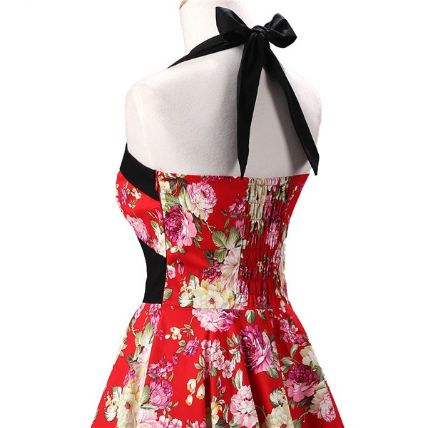 Vintage 1950s Halter Rockabilly Tea Party Swing Hepburn Style Dresses CF1009 Red Floral_04