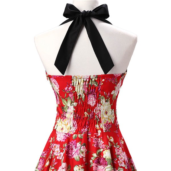 Vintage 1950s Halter Rockabilly Tea Party Swing Hepburn Style Dresses CF1009 Red Floral_03