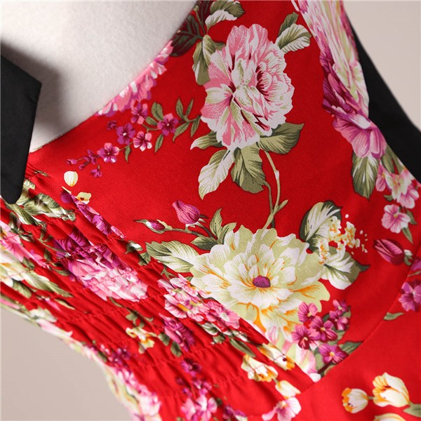 Vintage 1950s Halter Rockabilly Tea Party Swing Hepburn Style Dresses CF1009 Red Floral_05