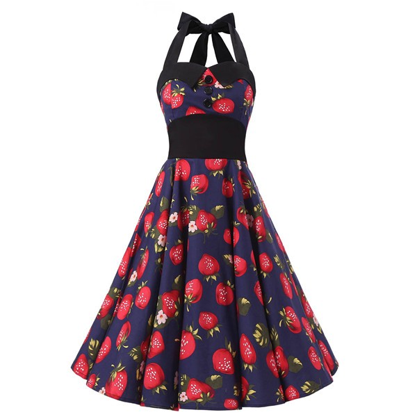 Vintage 1950s Halter Rockabilly Tea Party Swing Hepburn Style Dresses CF1009 Strawberry