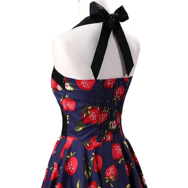 Vintage 1950s Halter Rockabilly Tea Party Swing Hepburn Style Dresses CF1009 Strawberry_03