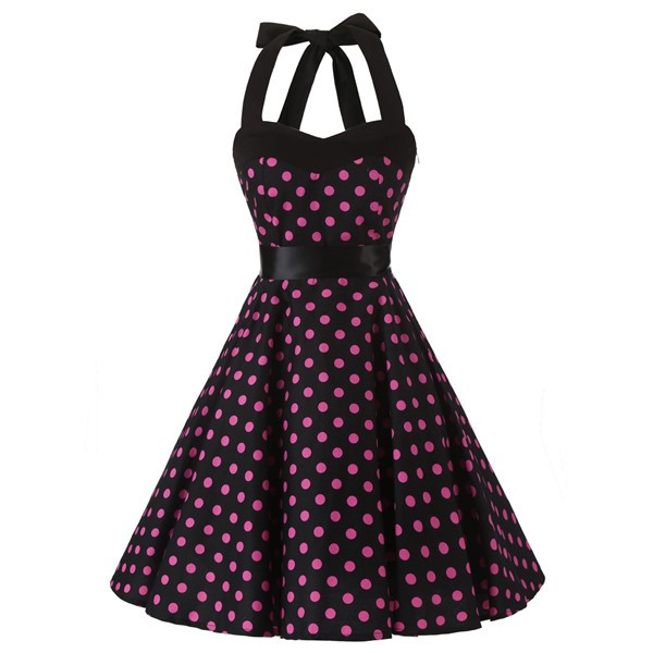 Wholesale 2017 New 1950s Rockabilly Polka Dots Audrey Halter Dress ...