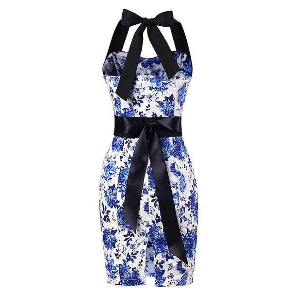 Vintage 50s Halter Cocktail Pencil Floral Print Swing Rockabilly Dresses CF1011 Blue Floral_01