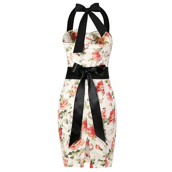 Vintage 50s Halter Cocktail Pencil Floral Print Swing Rockabilly Dresses CF1011 Cream Floral_01
