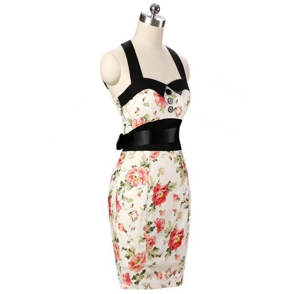 Vintage 50s Halter Cocktail Pencil Floral Print Swing Rockabilly Dresses CF1011 Cream Floral_02