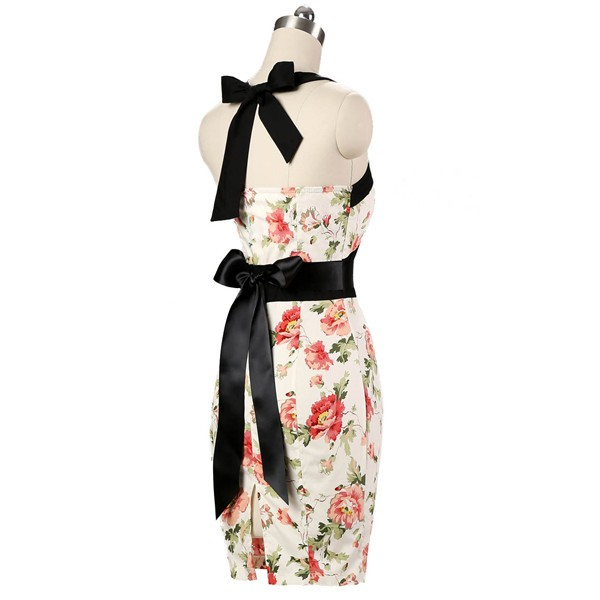 Vintage 50s Halter Cocktail Pencil Floral Print Swing Rockabilly Dresses CF1011 Cream Floral_03