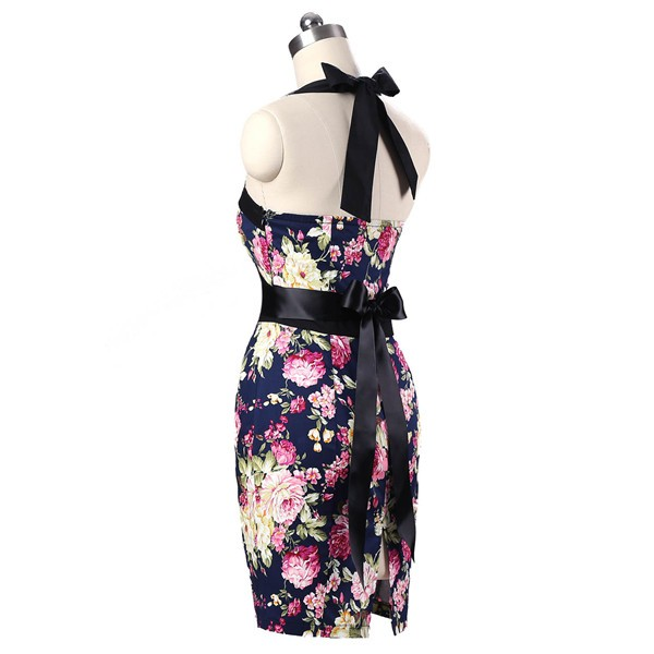 Vintage 50s Halter Cocktail Pencil Floral Print Swing Rockabilly Dresses CF1011 Navy Blue Floral_03