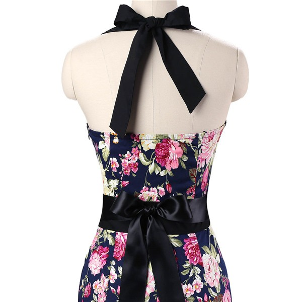Vintage 50s Halter Cocktail Pencil Floral Print Swing Rockabilly Dresses CF1011 Navy Blue Floral_05