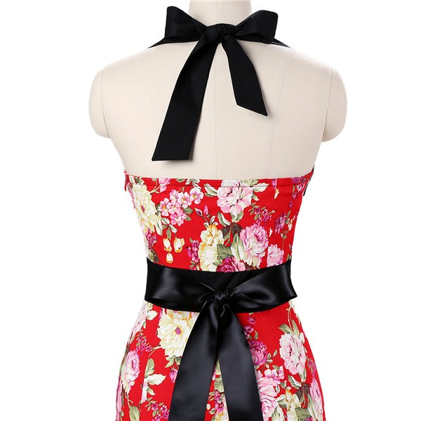 Vintage 50s Halter Cocktail Pencil Floral Print Swing Rockabilly Dresses CF1011 Red Floral_05