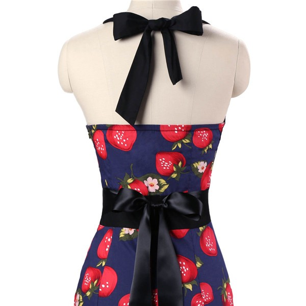 Vintage 50s Halter Cocktail Pencil Floral Print Swing Rockabilly Dresses CF1011 Strawberry_05