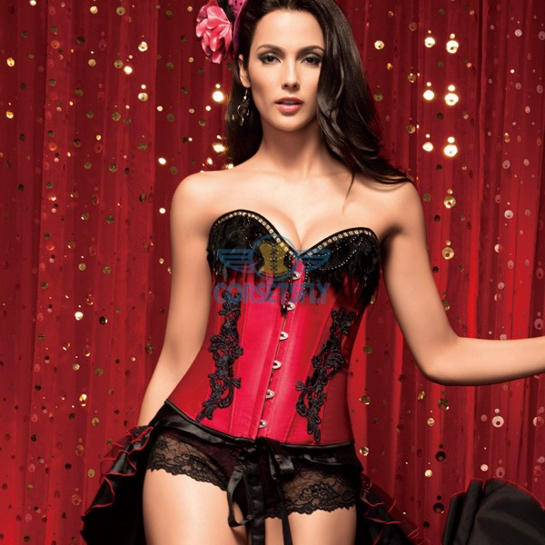 Vintage Black Feather Overbust Floral Lace Side Elegant Corset Top CF5142 Red