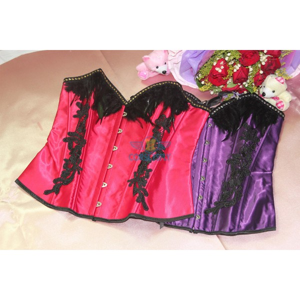 Vintage Black Feather Overbust Floral Lace Side Elegant Corset Top CF5142 Red_01