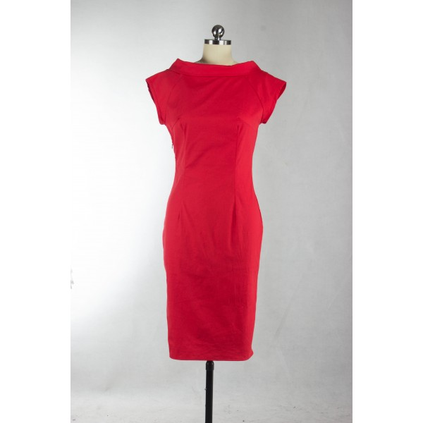 Vintage Cap-sleeve Rockabilly 1950s Bodycon Red Evening Party Dress CF1262_04