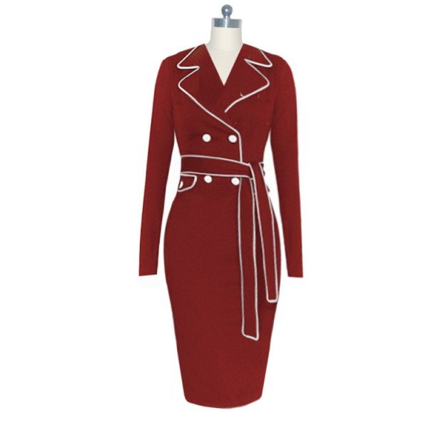 Vintage Chic Collar V Neck Long Sleeve Buttons Sheath Dresses CF1632 Burgundy_02
