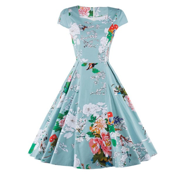 Vintage Floral Print Cap-sleeve Rockabilly Classy Light Blue Swing Dress CF1269_01