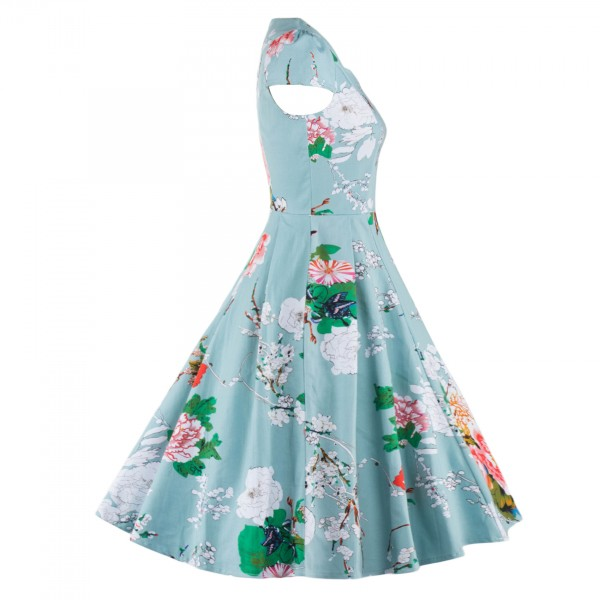 Vintage Floral Print Cap-sleeve Rockabilly Classy Light Blue Swing Dress CF1269_07
