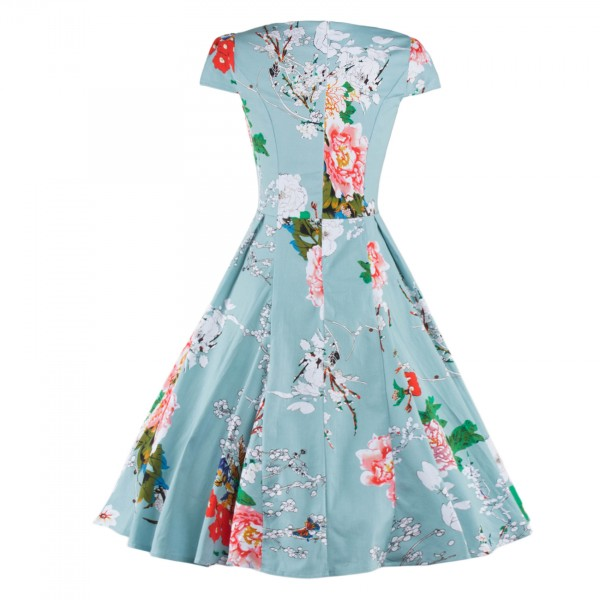 Vintage Floral Print Cap-sleeve Rockabilly Classy Light Blue Swing Dress CF1269_08