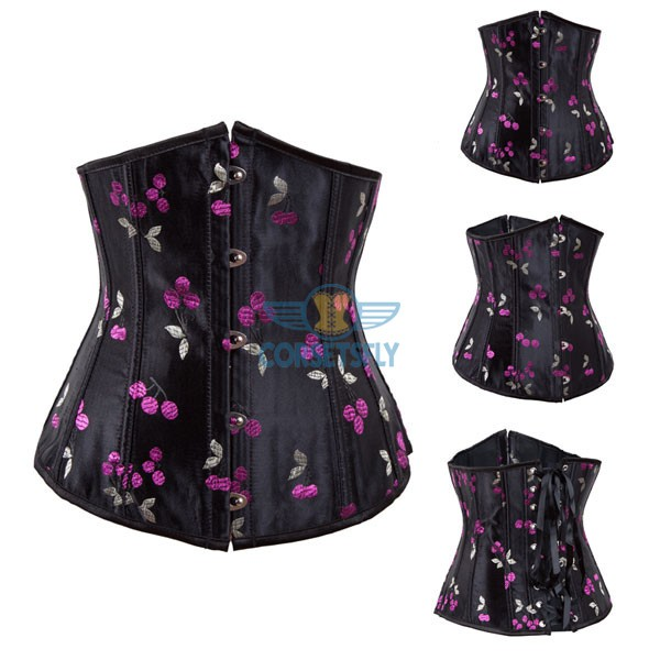 Vintage Goth Retro Strapless Corset with Floral Cherry Design Pattern CF7520_02