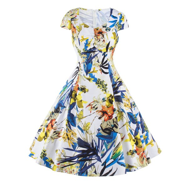 Vintage Pinup Floral Print V-Neck Rockabilly Cap-sleeve A-line Swing Dress CF1247 Yellow_01