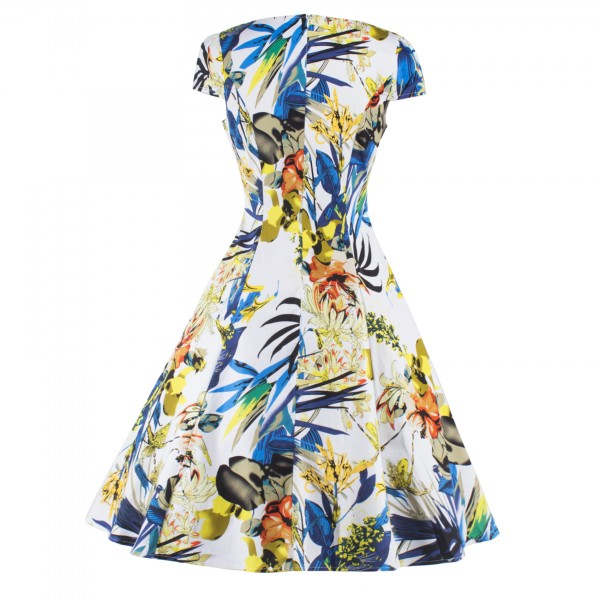 Vintage Pinup Floral Print V-Neck Rockabilly Cap-sleeve A-line Swing Dress CF1247 Yellow_07