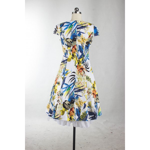 Vintage Pinup Floral Print V-Neck Rockabilly Cap-sleeve A-line Swing Dress CF1247 Yellow_10