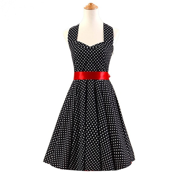 Vintage Sleeveless 1950s Inspired Halter Evening Polka Dot Rockabilly Dresses CF1006 Black