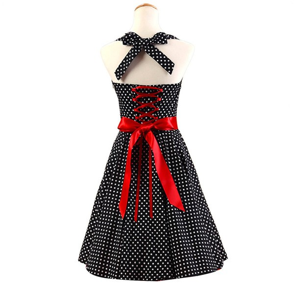 Vintage Sleeveless 1950s Inspired Halter Evening Polka Dot Rockabilly Dresses CF1006 Black_02