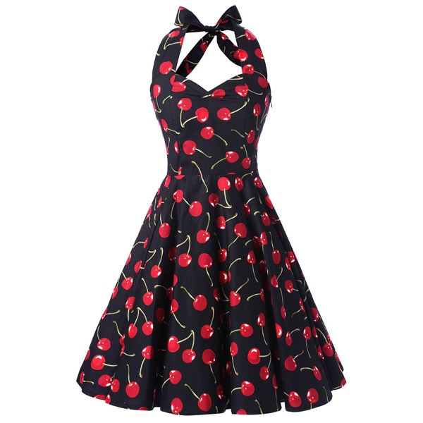 Vintage Sleeveless 1950s Inspired Halter Evening Polka Dot Rockabilly Dresses CF1006 Black Cherry