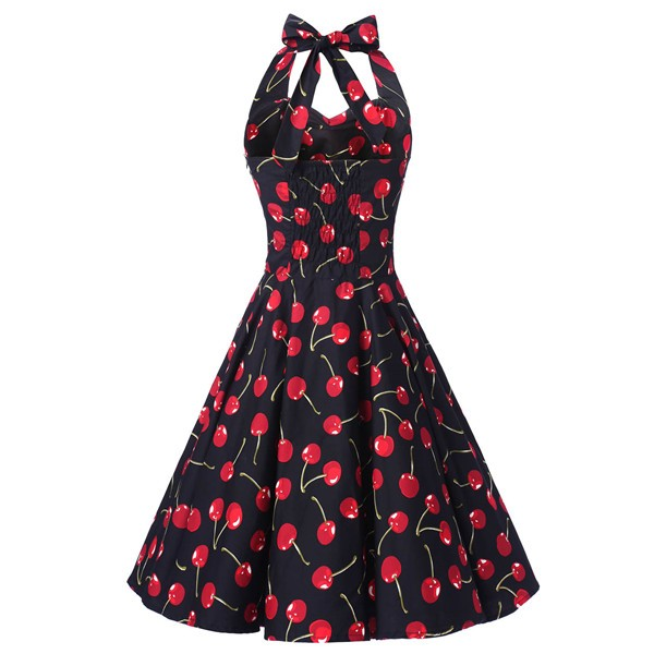 Vintage Sleeveless 1950s Inspired Halter Evening Polka Dot Rockabilly Dresses CF1006 Black Cherry_01