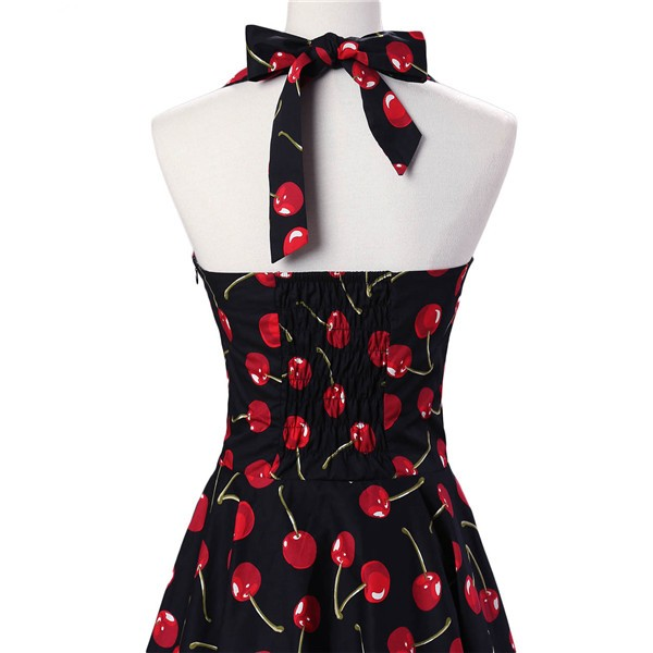Vintage Sleeveless 1950s Inspired Halter Evening Polka Dot Rockabilly Dresses CF1006 Black Cherry_04