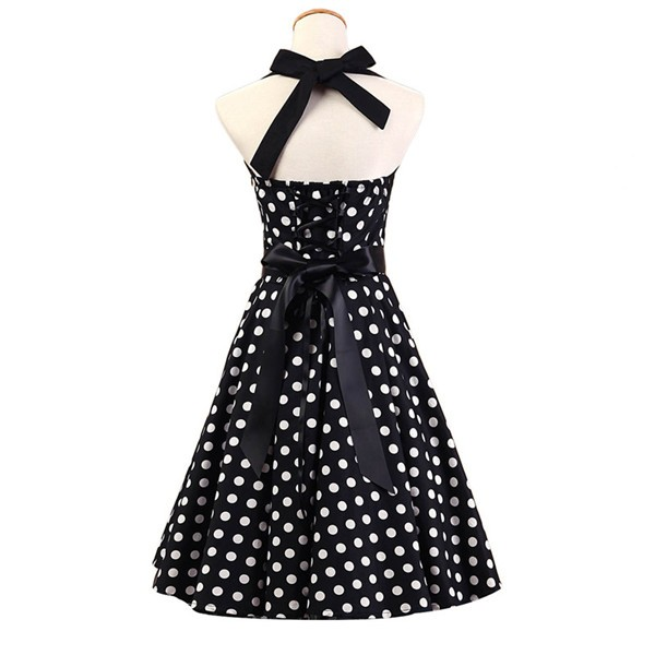 Vintage Sleeveless 1950s Inspired Halter Evening Polka Dot Rockabilly Dresses CF1006 Black White_02