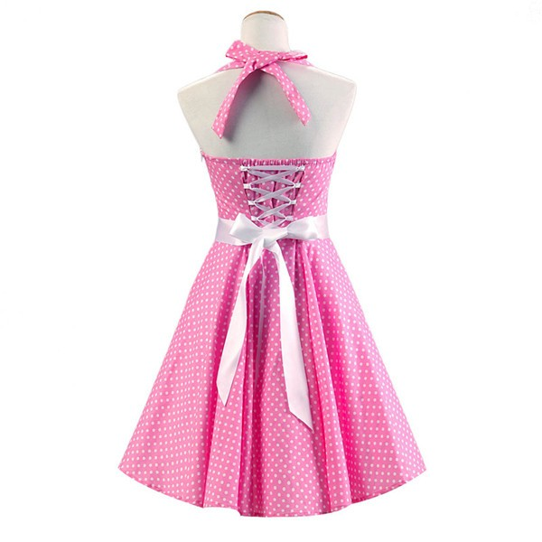 Vintage Sleeveless 1950s Inspired Halter Evening Polka Dot Rockabilly Dresses CF1006 Pink_02